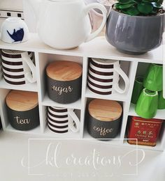 WOW Thank you to one of my customers for allowing me to share her coffee station with you all.. Your stickers look amazing Juanita.. Enjoy xx #coffeestation #coffeeislife #tea #sugar #kmart #kmarthome #kmathack #stickers #decals