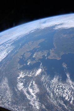 Danmark er et sjældent syn fra ISS, fordi vi ligger så langt fra ækvator - men det lykkedes alligevel Andreas at knipse et par flotte fotos af sit fædreland. (Foto: Andreas Mogensen)