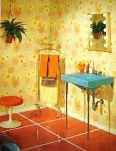 Vintage 1968 Mod Interior Design Book by VirginiaJane on Etsy--a sink like this could work in the original bath? Retro Interior, Vintage Interior, Retro Bathrooms, Vintage House, Vintage Interior Design, Bathroom Interior Design, Vintage Interiors, Vintage Bathrooms, Retro Interior Design