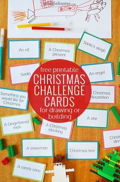 Free printable Christmas challenge cards - great for drawing or building ideas to keep the kids busy.