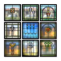 9 Windows - Arts & Crafts - Craftsman - Bungalow - Home - Detail I would like to have some art glass in the kitchen - our kitchen sink windows look directly into our neighbors yard/house and I really hate the idea of curtains near my sink (or in the kitc Stained Glass Designs, Stained Glass Projects, Stained Glass Patterns, Stained Glass Art, Stained Glass Windows, Mosaic Glass, Modern Stained Glass, Craftsman Stained Glass Panels, Interior Art Nouveau