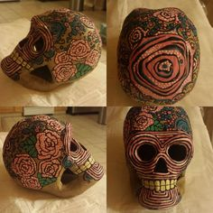 Day of the Dead paper mache skull by ColorDiscombobulated on Etsy, $50.00