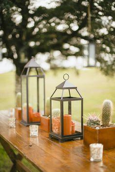 lantern centerpieces | Sara & Rocky #wedding