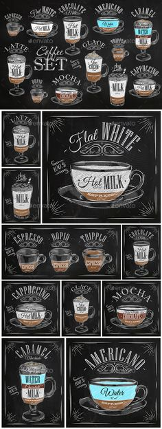 Set Coffee Chalk Vec
