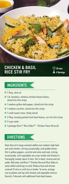 Can't figure out what's for dinner tonight? Try this recipe for chicken and basil stir-fry! Cook chicken, then sitr in yellow peppers, zucchini and onion and cook before adding in basil. Cook Knorr® Rice Sides™ - Chicken flavor Broccoli and add vegetables. Garnish with fresh basil to serve!