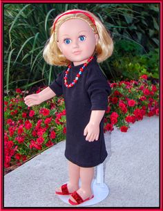 """American Girl Style Valentine's Little Black Dress! 3/4 Sleeves, Accessories Available, fits Virtually All 18"""" dolls"""