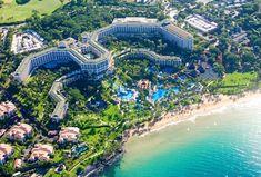 Aerial shot of the resort and ocean