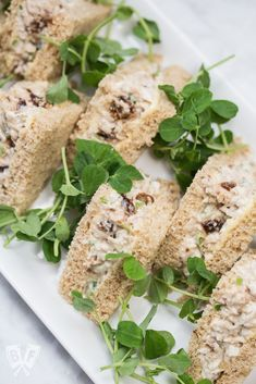 Turkey Salad Tea Sandwiches with Dried Cherries: Dried sour cherries add a pop of sweet-tart flavor to the turkey filling in this simple yet elegant tea sandwich recipe. Perfect party food! Brunch Recipes, Appetizer Recipes, Snack Recipes, Salad Recipes, Appetizers, Tea Sandwiches, Family Meals, Kids Meals, Perfect Salad Recipe