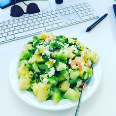 I had such a delicious salad for lunch today. Jalapeños, honeydew melon, pineapple, feta, mint, lime juice and grilled prawns. – – #yum #endometriosis #healthyfood #endofood #fodmap #fodmapdiet #endodiet #whatieat #fodmapfriendly #selfloveclub #bonappetit #f52grams #feedfeed #buzzfeedfood #theartofslowliving #myopenkitchen #livefolk #summer #jalapeños #pineapple #honeydew #worklifebalance #lunch #worklunch