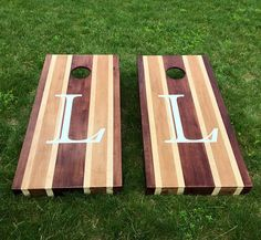 Multi Stained Wood Corn Hole Boards - Multiple Wood Stains with Monogram Wedding Letter Cornhole Designs, Cornhole Boards For Sale, Bean Bag Boards, Regulation Cornhole Bags, Backyard Games, Outdoor Games, Outdoor Stuff, Outdoor Ideas, Wood Games