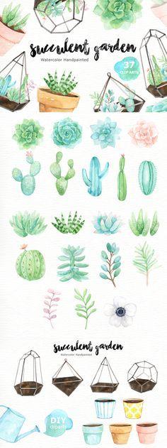 Succulent Garden Watercolor Cliparts by everysunsun