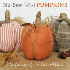 Easy, Fun and Inexpensive No-Sew Shirt Pumpkins - Got an old shirt and some twine? Then you've got almost everything you need to make these pumpkins...and you d…