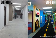 """Before and After"" of a hallway for a children's church area.  www.ImaginationAtmospheres.com"