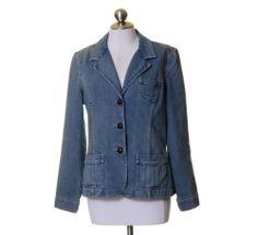 Style&Co. Medium Blue 3 Button Denim Blazer Jacket Size M Stretch