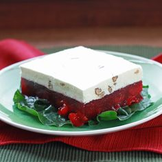 Frosty Cherry Salad is made with maraschino cherries and cranberry sauce, and it has a whipped cream mixture on top. Side Salad Recipes, Jello Recipes, Baking Recipes, Jello Deserts, Great Desserts, How To Make Salad, Maraschino Cherries, Christmas Desserts, Appetizers