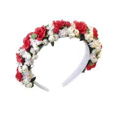 Blumenhaarband, Blumenkranz, Hair, Frisur,  Haarreifen in rot und Weiß von LIMEBRRY.