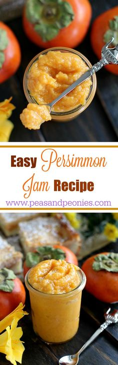 Easy Persimmon Jam Recipe - A very easy Persimmon Jam Recipe that can be used in cheesecakes or just spreaded on toast. This recipe will be ready in 35 minutes with only 4 ingredients. Peas and Peonie Jelly Recipes, Jam Recipes, Canning Recipes, Dessert Recipes, Delicious Desserts, Persimmon Jam Recipe, Persimmon Recipes, Chutney, Jam And Jelly