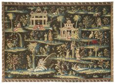'The Concert' - (The Harpist), An English `Indo-Chinese' Tapestry, London, Soho, workshop of John Vanderbank, circa 1700-1710 | lot | Sotheby's Flowering Plants, Planting Flowers, Chinoiserie, Medieval Tapestry, Tropical Wallpaper, Small Island, Finding A House, Impressionist, Old World