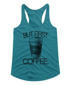 Take a look at this American Classics Galapagos Blue Heather 'First Coffee' Tri-Blend Racerback Tank today!