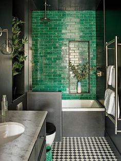 Highbury Home by Romilly Turner Interior Design - Green - Bathroom Decor Modern Bathroom, Small Bathroom, Bathroom Green, Colourful Bathroom Tiles, Bathroom No Window, Morrocan Bathroom, Black And White Tiles Bathroom, Turquoise Bathroom, Bathroom Vintage