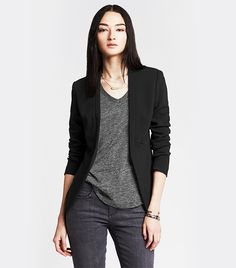 I like the casual pants and shirt combined with a jersey blazer - would love to find a great jersey blazer- preferably one that if you roll the sleeves a little there might be a little bit of pattern or color to peek out