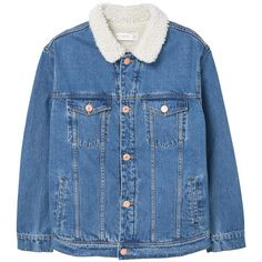 MANGO Contrast Collar Denim Jacket (1.043.630 IDR) ❤ liked on Polyvore featuring outerwear, jackets, denim jacket, lined denim jacket, long sleeve jacket, fleece-lined jackets and blue denim jacket