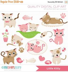 ON SALE - Pink Little Kitty Cat Clip Art / Digital Clipart - Instant Download
