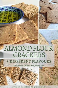Almond Flour Crackers - 3 ways by Emma Eats & Explores - Grainfree, Glutenfree, Dairyfree, Sugarfree, Paleo, SCD, Vegan, Vegetarian, Whole30, Low Carb, LCHF