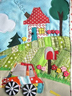 DQS9 #3 Peek | Flower buttons and doorknob button. Pieced hi… | Carol | Flickr
