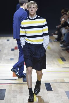 This DIOR HOMME look checks 4 Spring 2015 trends -- Side bangs, (Canary) yellow, 70s prep styling and Pinstripes! #Spring2-15 #yvestyle