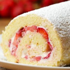 Strawberry Cheesecake Cake Roll by Tasty