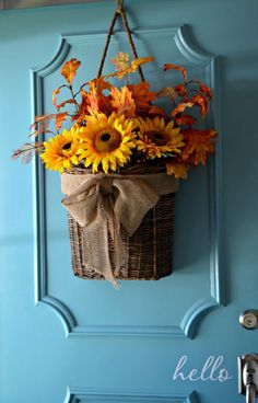 Fall home tour front door basket.