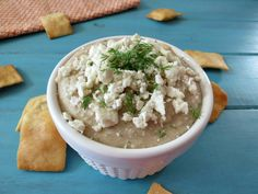 Garlicky Feta White Bean Dip - So easy, so healthy, and just a few ingredients!