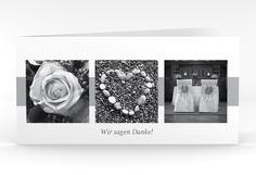 """Danksagungskarte Hochzeit """"Marseille"""" DIN lang Klappkarte"""
