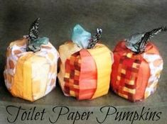 toilet paper pumpkins. Use scrapbook paper and toilet paper rolls for this thrifty fall decoration
