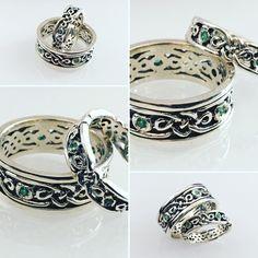 Fedi celtiche realizzate a mano con smeraldi