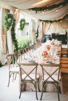 Beautiful Wedding Tent Ideas: Pink, fabric, Green Earthy Decorations and a Pink…
