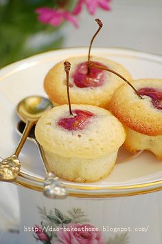 "Cherry almond tea cakes - How cute are these!? ""TastefullySimplify"" it with our Absolutely Almond Pound Cake! Get it at www.TastefullySimple.com/web/dtomajko"