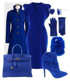 """Wintet blue #1"" by cobaltbluejs on Polyvore featuring Lands' End, Wild & Woolly, Karen Millen and Hermès"