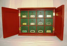 The first tea cabinet I made was for my wife as a Christmas gift. They are very popular and may be used to store other small items. There are twelve s… Tea Storage, Locker Storage, Tea Box, How To Make Tea, Shelves, Cabinet, Holiday Decor, Furniture, Home Decor