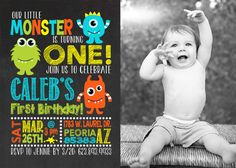 This listing is for the above birthday invitation designed for any age, with or without your childs photo. You can order the digital file only or I can print the invitations for you. Need matching items? Get them here: Thank You Card: https://www.etsy.com/listing/290023329/thank-you-card-monster-birthday?ref=shop_home_listings Water Bottle Label: https://www.etsy.com/listing/276022630/water-bottle-label-birthday-party?ref=shop_home_active_1 Return Address Label: https://www.etsy.com/list...