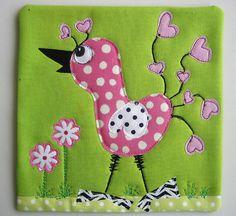 Bird Mug Rug #8 by mamacjt, via Flickr