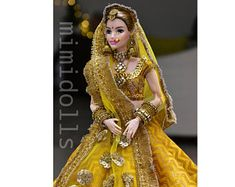 Heavily embellished magenta lehenga for a regular body type barbie doll. Please note:-(doll/jewelry not included ) Please Note: The color may vary due to different display screens Doll Clothes Barbie, Barbie Dress, Stylish Dress Designs, Stylish Dresses, Pretty Dolls, Beautiful Dolls, Wedding Doll, Barbie Wedding, Bridal Makeup Images