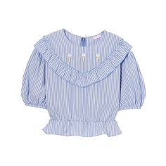 CANDY ICE CREAM BLOUSE ❤ liked on Polyvore featuring tops, blouses, tops and t-shirts, blue top, cream top, blue blouse, cream blouse and puff blouse