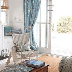 costal blues..... love the open door & vintage chair