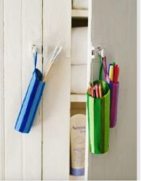 Make these colorful caddies for your pens, pencils and other crafting supplies. We used an Aveeno baby lotion bottle and simply snipped off the top and covered it in craft felt. So easy! Get more ideas at caretorecycle.com! #CARETORECYCLE