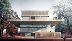 new embassy . Architecture Visualization, Modern Architecture, Bucharest, Exterior, Mansions, House Styles, Outdoor Decor, Single Family, Home Decor