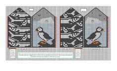 Ravelry: Puffin mittens colour chart pattern by Twisted Bark Designs Kinder Kreuzstich Puffin mittens colour chart Knitted Mittens Pattern, Knit Mittens, Knitted Gloves, Knitting Charts, Lace Knitting, Knitting Patterns, Cross Stitch Bird, Wrist Warmers, Fair Isle Knitting