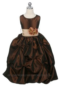 MB_119BR - Flower Girl Dress Style 119- Brown-BUILD YOUR OWN DRESS! Choice of 139 Sash and 51 Flower Options! - Infants and Toddler Dresses - Flower Girl Dress For Less