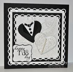 HAPPY I DO DAY BRIDE & GROOM HEARTS PUNCH ART CARD by MarieStamps.com featuring Stampin' Up! punches.